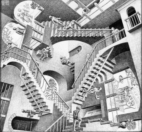 Relativité par M.C. Esher (1953)